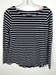 Boden-Blouse-Size-10-Navy-Blue-White-Long-Sleeve-Cotton-Casual-Shirt-Top-Womens
