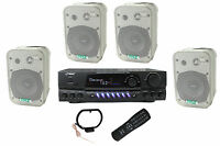 4) Pyle 5.25 Outdoor Speakers + Pt260a 200w Stereo Home Theater Receiver on sale