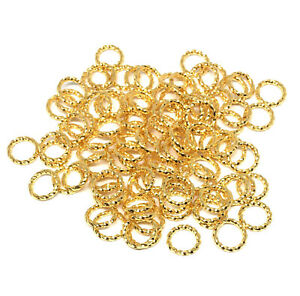 8mm twisted gold plated brass open jump rings 16 gauge