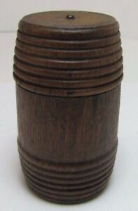 Antique-Small-Treen-Wooden-Barrel-Container-Jar-Box-Turned-Ribbed-Spice-Trinket