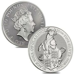 Lot-of-2-2019-Great-Britain-10-oz-Silver-Queen-039-s-Beasts-Black-Bull-Coin
