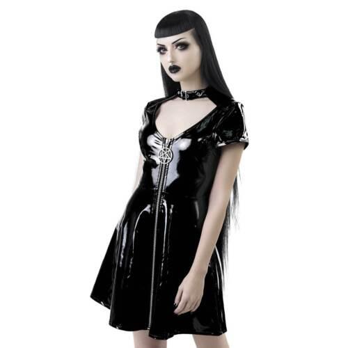 Killstar Sin City skater dress gothique verni-Robe Noir Mini tellerrock