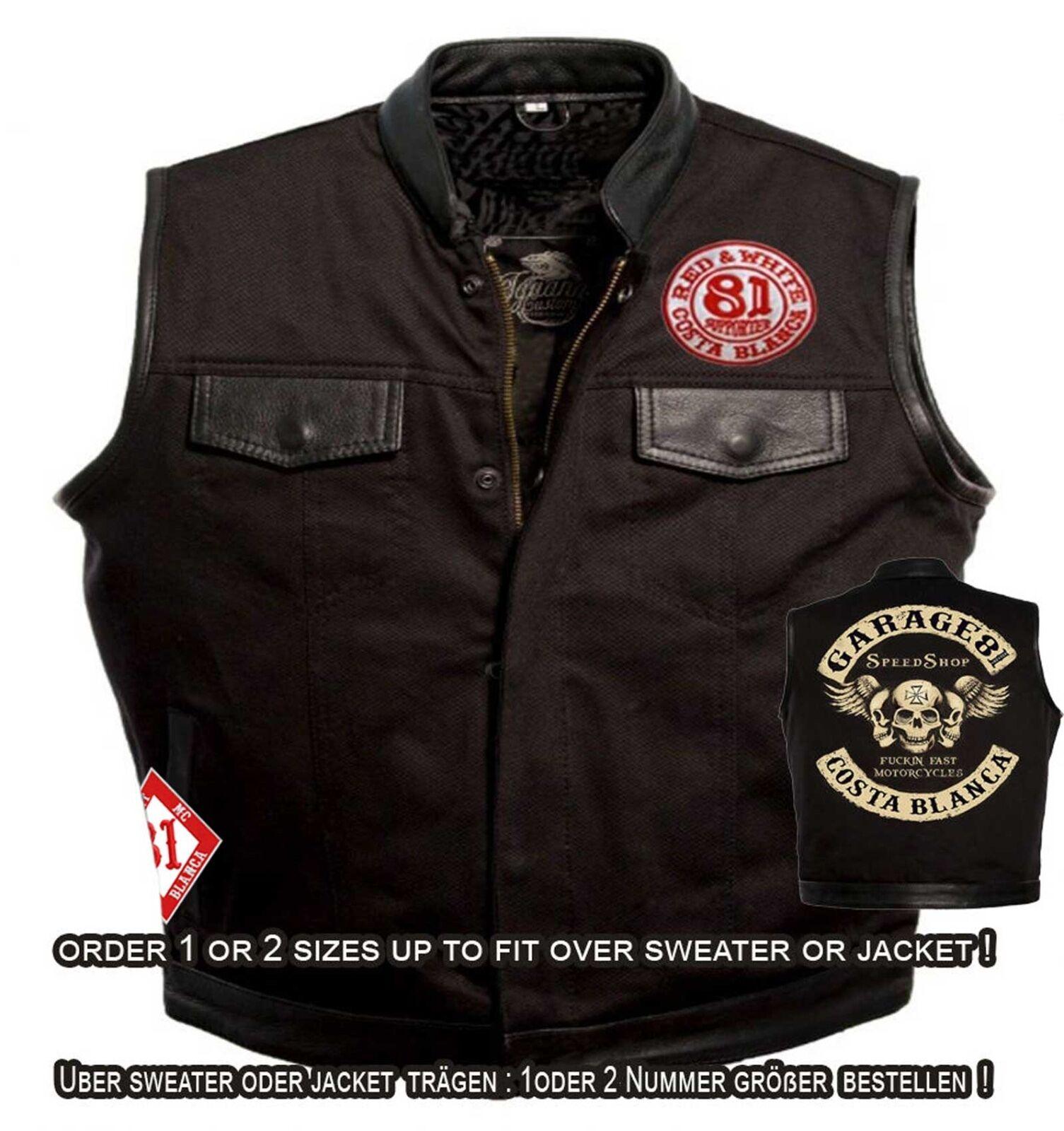 49 Hells Angels Support81 Denim Leather Vest rocker kutten M - 5XL mit 81 patch
