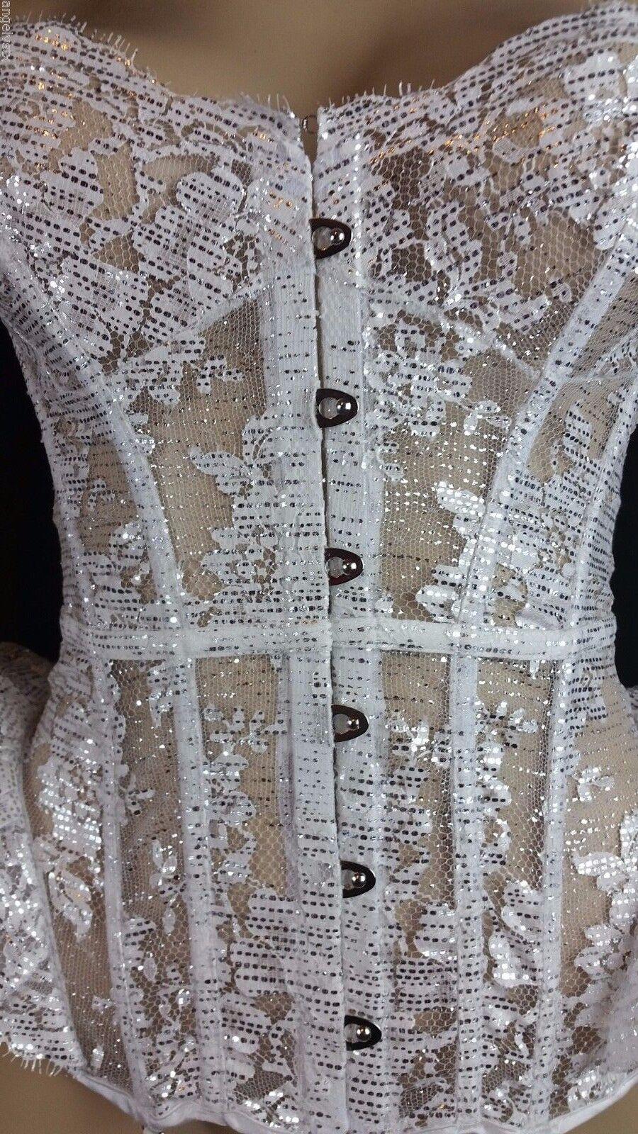 34 C Victoria's Secret DESIGNER COLLECTION Corset Garter White Silver Lace $498