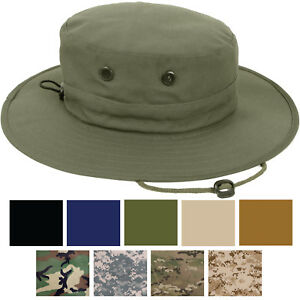 Image is loading Adjustable-Boonie-Hat-Tactical-Jungle-Bucket-Fishing-Sun- f6a7bf7588ce