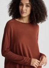 Eileen Fisher Paprika Seamless Sleek Tencel Knit Mock Neck Top S