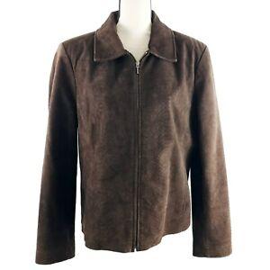 Bernardo-Jacket-Womens-Size-Large-Brown-Suede-Leather-Snakeskin-Texture-Full-Zip