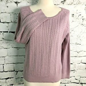 ed9d33a548 Image is loading Petite-Sophisticate-Womens-Sweater-Cable-Knit-Light-Purple-