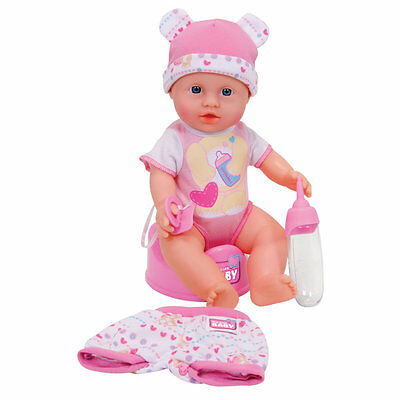 New Born Baby Puppe mit Trink und Nässfunktion - interaktive Spielpuppe + OVP