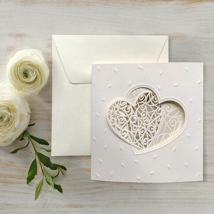 Einladungskarte für Hochzeit 7768 mit Umschlag  Hochzeitseinladungskarte
