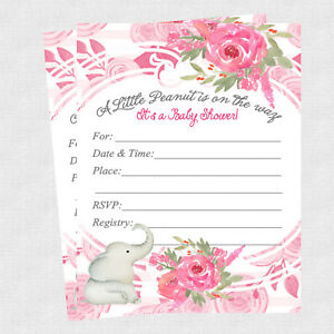 20 Elephant Baby Shower Invitations Cards Decorations Girl Baby