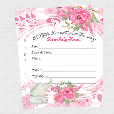20 Elephant Baby Shower Invitations Cards Decorations Girl Baby Shower Invites Ebay