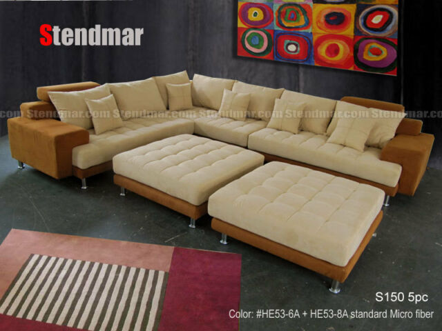 5PC MODERN GRAY MICROFIBER BIG SECTIONAL SOFA SET S150RG