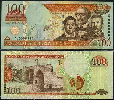 100 Pesos Oro UNC /> Commemorative Dominican Republic 2002 P-175