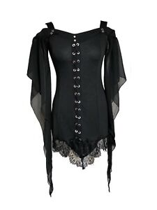 Gothic-Steampunk-Batwing-Off-Shoulder-Witch-Jersey-Lace-up-T-Shirt-Top-Blouse