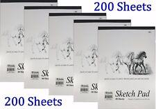 "5 Sketch Pad Book 9"" X 12"" Art Drawing Paper 200 Sheets Pencil Pastel"