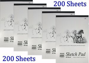 5-Sketch-Pad-Book-9-034-x-12-034-Art-Drawing-Paper-200-sheets-pencil-pastel
