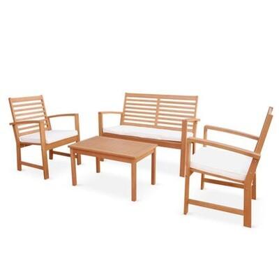 Salon de jardin Roses en bois, coussins écrus, 4 places assises, 4 éléments