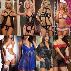 Sexy-Damen-Spitze-Kleid-Babydoll-Negligee-Nachtwaesche-Reizwaesche-Dessous-Paket