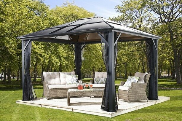 10x14 Meridien Polycarbonate Hard Top gazebo with PVC coated mosquito netting