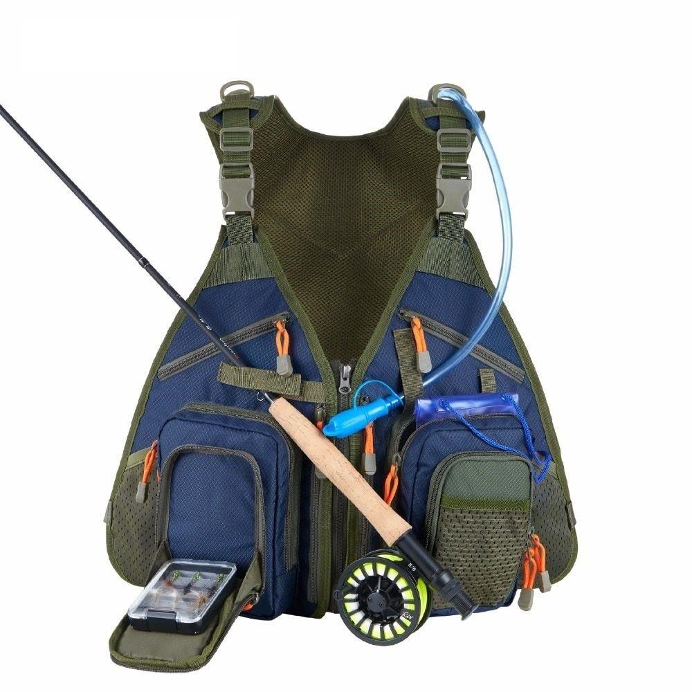 Chaleco de pesca con mosca Angler Tackle Gear incluyen Agua Vejiga Bolsa de teléfono a prueba de agua