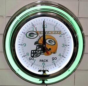 Image Is Loading New Green Bay Packers Neon Wall Clock 13