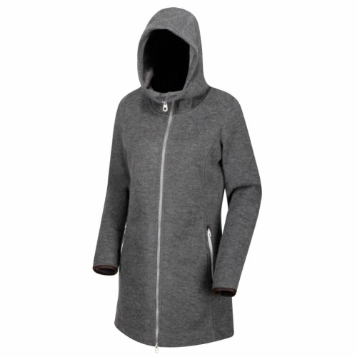Regatta Ranata Damen Fleece Mantel Long-Jacke Hoodie Kapuzenjacke Woll Optik