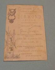 Gustave Fox Artistic Diamond Setter Victorian Trade Card Cincinnati Ohio Antique