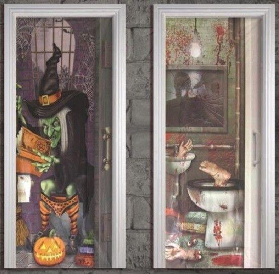 Witch on Toilet Bathroom Door Cover Halloween 5 Foot Party ... on through wall door, through bedroom door, through garage door, through room door, through shower door, through glass door,