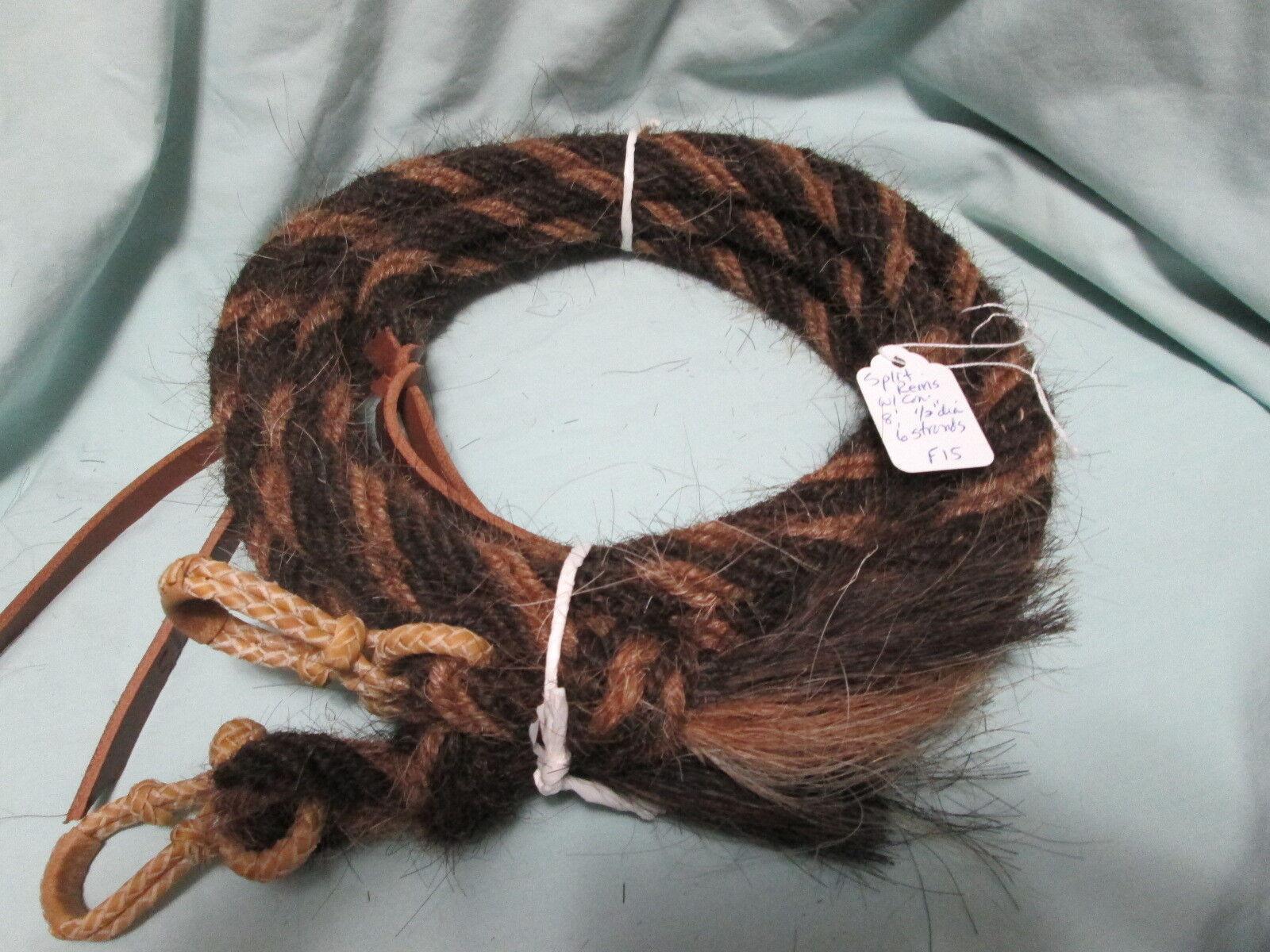 Mane Split de pelo de caballo riendas W Rawhide Conectores -- 8 ft 1 2  de diámetro, patrón F15