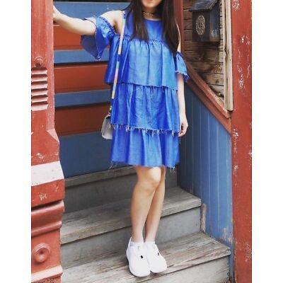 BNWT ZARA FRILLED DENIM DRESS  DRESS  s.S BLOGGERS FAV.  REF. 5520/041