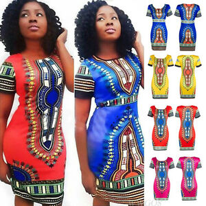 10c9e6f7ad6 Sexy Women s Traditional African Print Dashiki Bodycon Dress Short ...