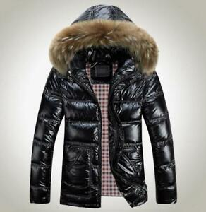 Mens-Shiny-Duck-Down-Coat-Fur-Collar-Hooded-Thicken-Warm-Jacket-Parkas-Plus-Size