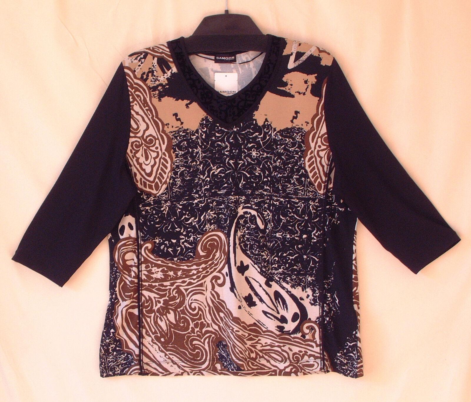Samoon Shirt by Gerry Weber V-Ausschnitt Viskose Stretch 3 4Arm Neu Damen Gr.