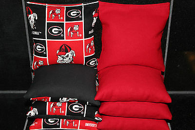 Cornhole Bean Bags Made W Georgia Bulldogs Fabric Aca