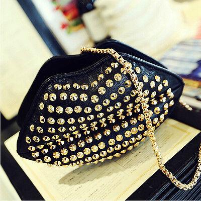 Fashion Womens Rivet Studded Lip Clutch Handbag Shoulder Chain Bag Satchel Purse