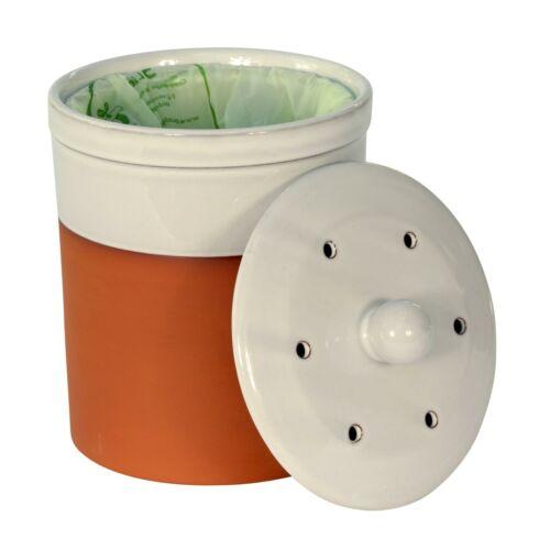 /& 150 x 6 L Sacs compostables Chetnole terre cuite Compost Caddy-Blanc