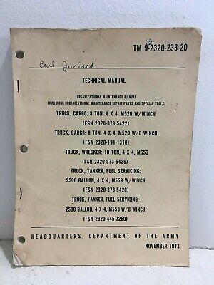 TM 9 2320 233 20 Dept Of Army Manual Cargo Truck 8 Ton Wrecker 10 Ton Tanker EBay