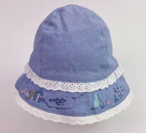 Baby Girls NEXT Broderie Trim Chambray Cotton Bucket Sun Hat Age 0-3 Months NWoT