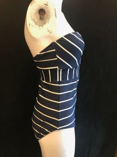 "BNWT PHASE EIGHT Strapless /""STEPHANIE/"" 1 Piece Navy White Stripe Swimsuit UK 12"