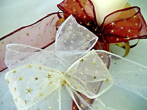 1 m 50mm WIRED CHRISTMAS RIBBON SHEER & GOLD STARS,IVORY,WH<wbr/>ITE,BURGUNDY BOW,TREE