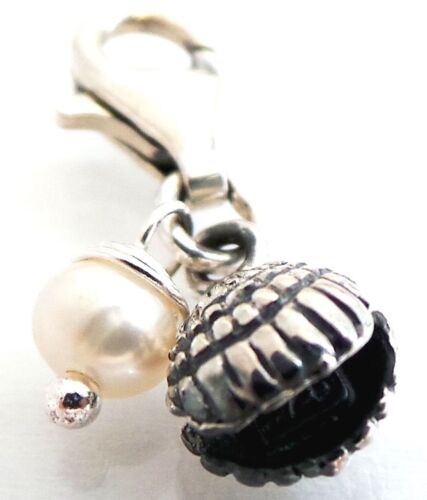 """TINY Sterling Silver Clamshell White Freshwater Pearl Bracelet Charm Clip 0.47/"""""""