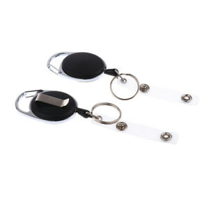 2x-Heavy-Duty-Retractable-23-6-034-Pull-Reel-Recoil-Key-Ring-ID-Cards-Holder
