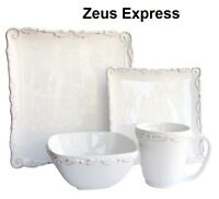 16 - 32 Piece Dinner Service Sets Modern Traditional Square Plates Bowls Mugs