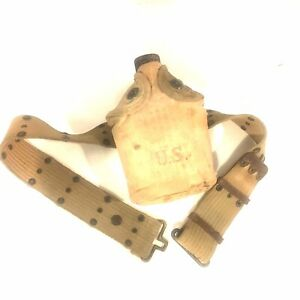 Original-WW2-USMC-US-Army-Canteen-Cover-with-Canteen-Complete-w-Belt