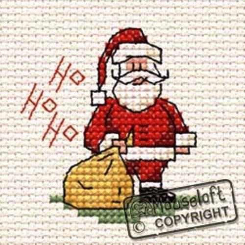 Ho Ho Ho Santa Stitchlet With card /& Envelope by Mouseloft