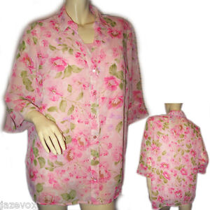WHITE-STAG-Womens-Button-Down-Sheer-Top-Blouse-Plus-Size-16-W-Pink-Floral-Print