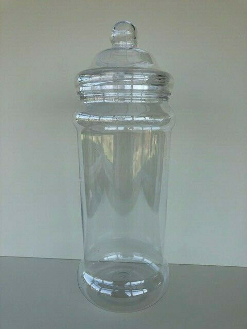 1-16 Multi Listing 2500ml Clear Plastic Sweet Jars with White Caps