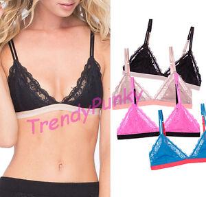 fd21d53782 Floral Lace Triangle Bralette Bra Color Block Sheer Lined Hook Mesh ...