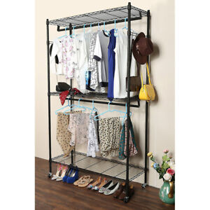 Image Is Loading 1 2 Tier Garment Rack Metal Clothes Coat